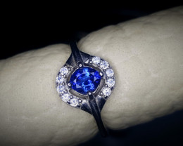 10.30 Crts Sapphire Ring With Rhodium Coated 92.5 Silver & CZ