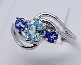 Natural Blue Tanzanian Tanzanite 925 Silver Ring (JE74)