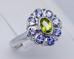Natural Blue Tanzanian Tanzanite And Peridot 925 Silver Ring (JE75)