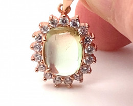 Watermelon Tourmaline 3.69ct Rose Gold Finish Solid 925 Sterling Silver P