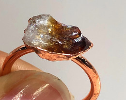 Citrine Raw Beautiful terminated Gemstone Copper Ring BR 437