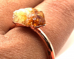 Citrine Raw Beautiful terminated Gemstone Copper Ring BR 439