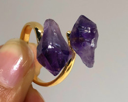 Amethyst Double Terminated Points Gemstone Ring BR 442