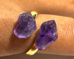 Amethyst Double Terminated Points Gemstone Ring BR 444