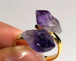 Amethyst Double Terminated Points Gemstone Ring BR 445