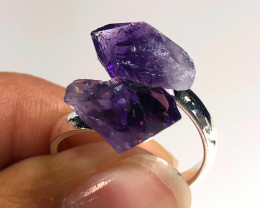 Amethyst Double Terminated Points Gemstone Ring BR 448
