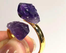 Amethyst Double Terminated Points Gemstone Ring BR 451