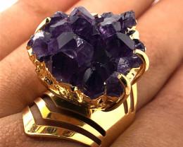 Raw High Grade Amethyst Druzy Gold Ring BR 454