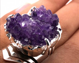 Raw High Grade Amethyst Druzy Silver Ring BR 456