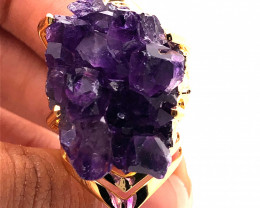 Raw High Grade Amethyst Druzy Gold Ring BR 458
