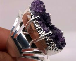 Raw High Grade Amethyst Druzy Silver Ring BR 459