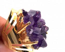 Raw High Grade Amethyst Druzy Golden Ring BR 465