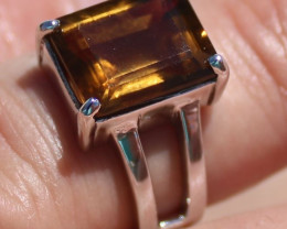 Smoky Quartz 6.18ct, Rhodium Finish, Solid 925 Sterling Silver Solitaire Ri