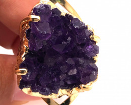 Raw High Grade Amethyst Druzy Golden Ring BR 466