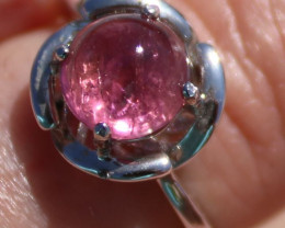 Pink Sapphire 2.61ct Solid 925 Sterling Silver Ring, Rhodium Finish