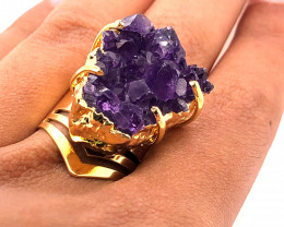 Raw High Grade Amethyst Druzy Golden Ring BR 469