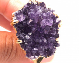 Raw High Grade Amethyst Druzy Golden Ring BR 471