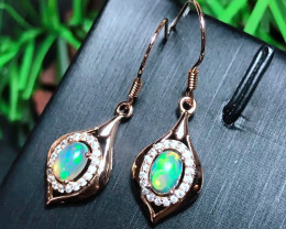 Certified 10 Ct Natural Opal Gemstone Leaf Drop Earrings for Women Real 925