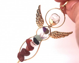 Seven Chakra - natural stones - Angel pendant 490