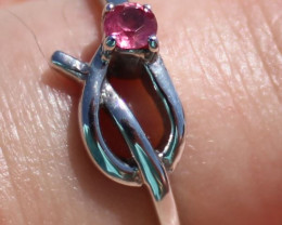 Ruby .17ct Solid 925 Sterling Silver Rhodium Finish Solitaire Ring
