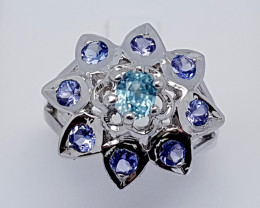 Natural Blue Tanzanian Tanzanite And Zircon 925 Silver Ring (JE79)