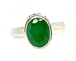 Natural Stunning Emerald 925 Sterling Silver Ring (JE37)