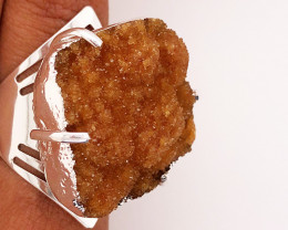 Raw High Grade Citrine Druzy Silver Ring BR 481