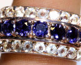 37.50 CTS BLUE SAPPHIRE SILVER RING  RJ-714