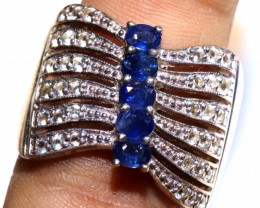 45.95 CTS BLUE SAPPHIRE SILVER RING  RJ-715