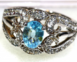 28 CTS BLUE TOPAZ SILVER RING  RJ-718