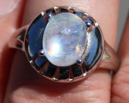 Moonstone 3.85ct Solid 925 Sterling Silver Rhodium Finish Ring