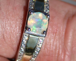 White Opal .65ct, Rhodium Ring, 925 Solid Sterling Silver, Natural, Sourced