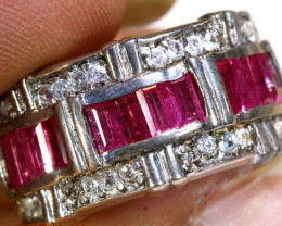 32.70 CTS PINK SAPPHIRE SILVER RING  RJ-725