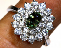 20.95 CTS SAPPHIRE SILVER RING  RJ-726
