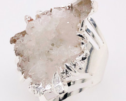 Crystal Raw High Grade Druzy Silver Ring BR 511