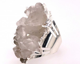 Boho Crystal Raw High Grade Druzy Silver Ring BR 512