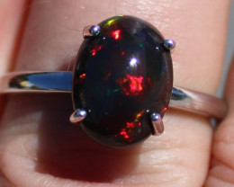 Black Opal 3.30ct Solid 925 Sterling Silver Rhodium Finish Solitaire Ring