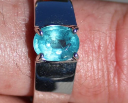 Blue Apatite 1.34ct Solid 925 Sterling Silver Rhodium Finish Solitaire Ring