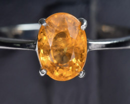 9.13 Crt Natural Spessartite 925 Silver Ring