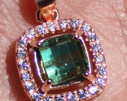 Green Tourmaline 1.04ct, Solid 925 Sterling Silver, Rose Gold Finish Pendan