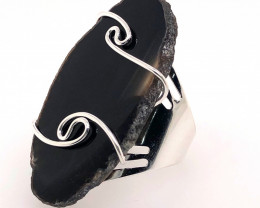 Dark Agate Ring  Silver Plated wire wrapped   BR 518