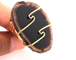Brown Agate Ring  Gold Plated wire wrapped   BR 522