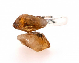 Raw Citrine Double Terminated Points Gemstone Ring BR 534