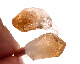 Citrine Double Terminated Points Gemstone Ring BR 535