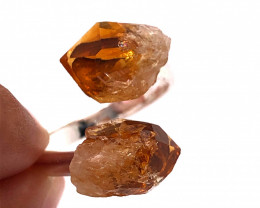 Citrine Double Terminated Points Gemstone Ring BR 537