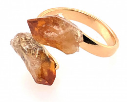 Citrine Double Terminated Points Gemstone Ring BR 542