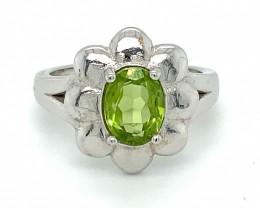 Peridot 1.55ct Solid 925 Sterling Silver Rhodium Finish Solitaire Ring
