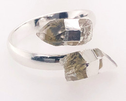 Smoky Quartz Double Terminated Points Gemstone Ring BR 546
