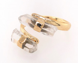 Smoky Quartz Double Terminated Points Gemstone Ring BR 547