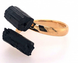 Raw Spiritual black Tourmaline Double Gemstone Ring BR 556
